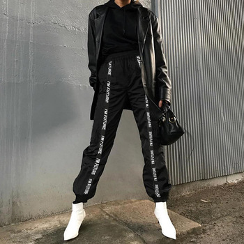 HOUZHOU Harem Pants Trousers Women Full Length Loose Jogger Mujer Sporting Elastic Waist Black Casual Combat Streetwear Fashion 3