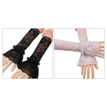 Women Bridal Single Layer Ruffled Fingerless Gloves Floral Lace Wedding Arm Warmer Scar Cover Sunscreen Fake Sleeves