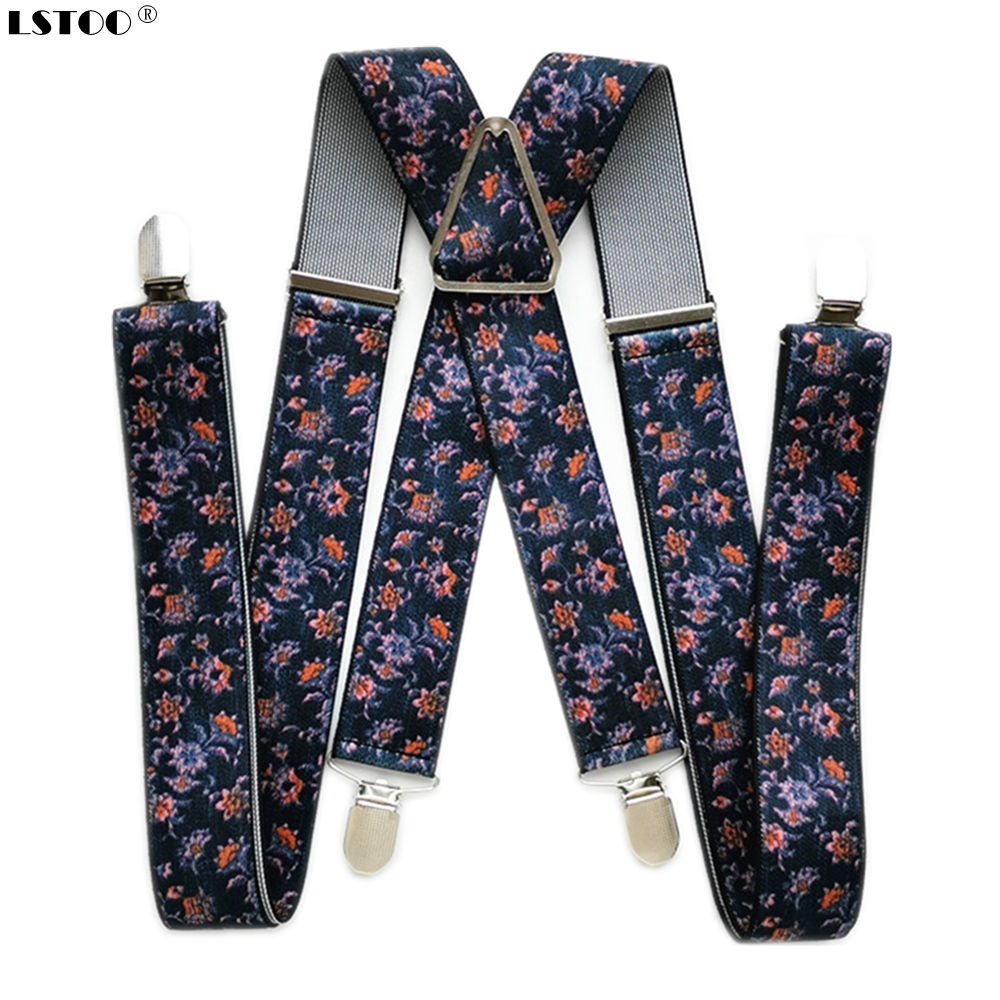 3.5CM Width Peony FLower Print Suspenders Men Boys X Back  WomenBraces Skirt Pants Holder Match Shirt Adult Suspender