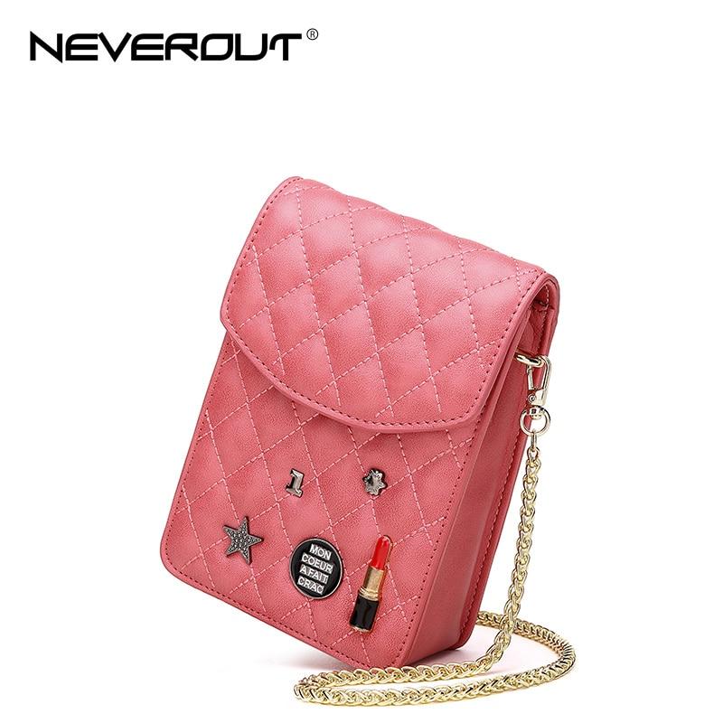 NEVEROUT Mini Bag for Women Classic Lattice Split Leather Quilted Messenger Bag Crossbody CellPhone Purse Girls