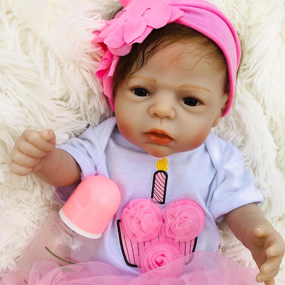 22 Polegada Bebes reborn bonecas menina Boneca reborn Vinil Silicone Cheio Realista Boneca Do Brinquedo Do Bebê recém-nascido Para Crianças presentes do dia