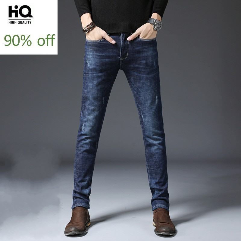 High Street Men Straight Leg Jeans Casual Slim Fit Business Denim Trousers Winter New Thicken Stretch Zipper Jeans Blue/Black