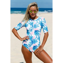 Women's Half Sleeve Tropical Palm Tree Printed One Piece Swimsuit Zipper Front Swimwear