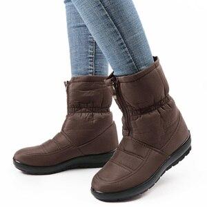 Image 5 - Su geçirmez kış kar botları yarım çizmeler kadınlar için sıcak kürk astarı Platform ayakkabılar bayanlar Botines siyah Botas Mujer Invierno 2020