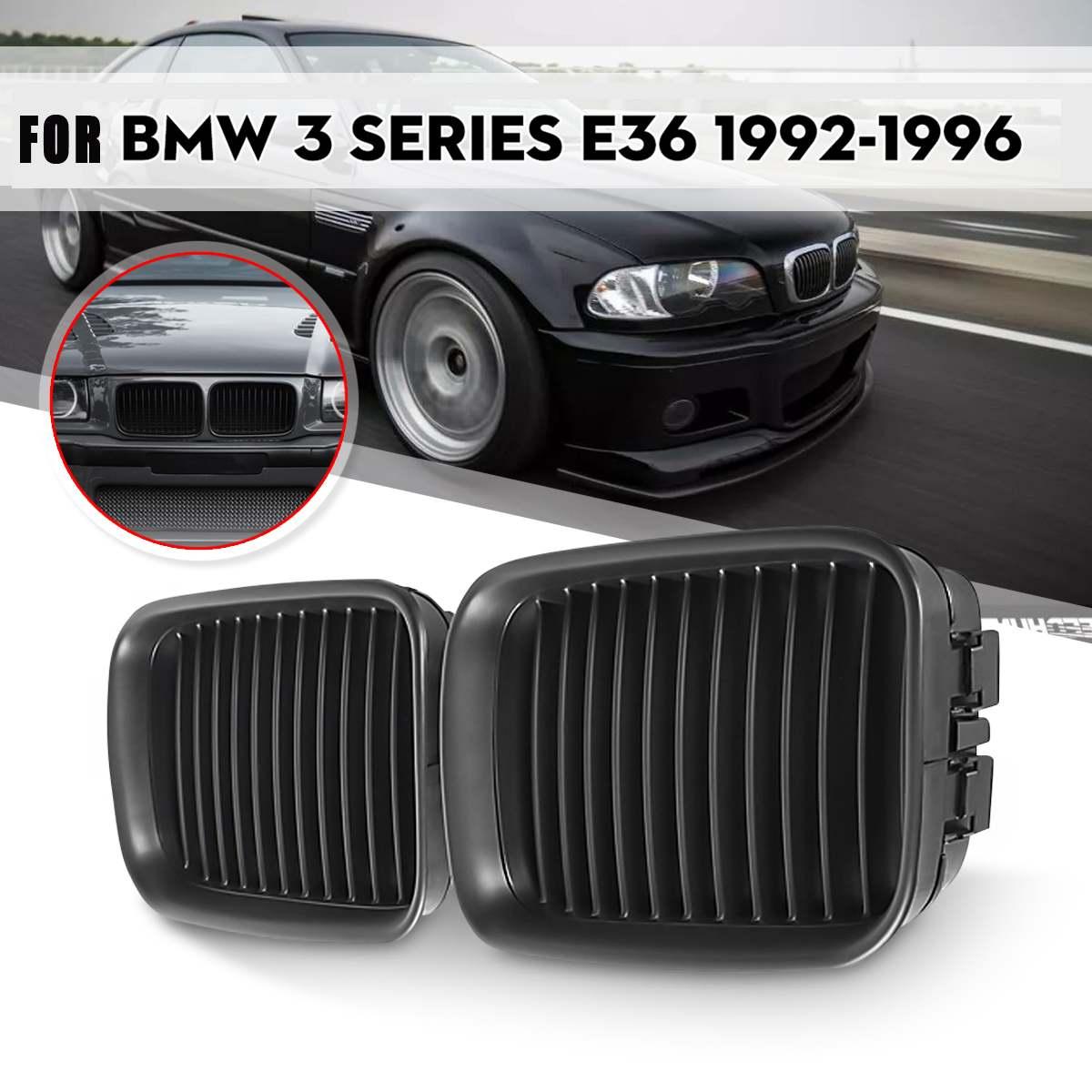 2 pçs carro corrida grades fosco/gloss preto esporte rim grille grill para bmw e36 318 328 328 1992 1993 1994 1995 1996