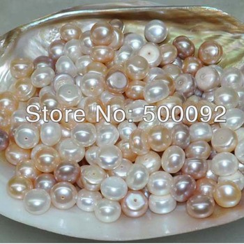 Lots 100  pcs 9.5-10mm button loose freshwater pearl half drilled