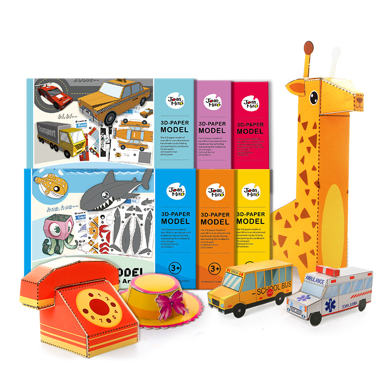 DIY Paper Puzzles 3D Cartoon Vehicle Animal Cardboard Puzzles For Kids Early Learning Educational Toy Children Origami Book Gift