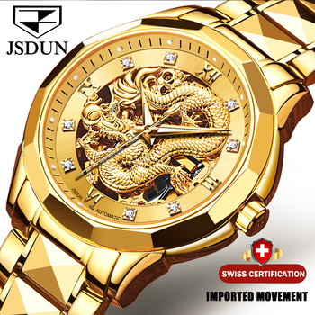 Dragon Skeleton Automatic Mechanical Watches For Men Wrist Watch Stainless Steel Strap Gold Clock 30m Waterproof Mens watch 8840 - discount item  90% OFF Men's Watches