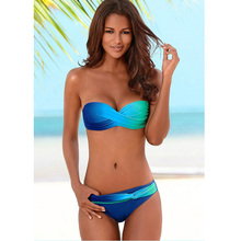 цена на Low Waist Sexy Brazilian Bikini Set Women Swimwear Beachwear Gradient Print Two Pieces Bikini 2019 Swimsuit Female Bathing Suit