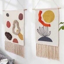 Cotton Linen Tapestry Sew on Plush Hand Knot Tassel Geometric Print Muslim Ornament Wall Hanging Macrame Home Decor Tapestries