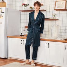 Sleepwear Bathrobe-Set Silk Satin for Men Nightgown Long-Pants Loose Two-Pieces And Male