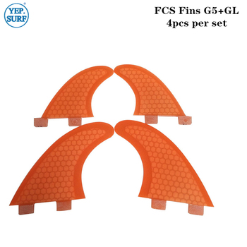 Orange/Blue G5+GL quad fin  Fibreglass Fins FCS Surfboard Fin in surfing Surf