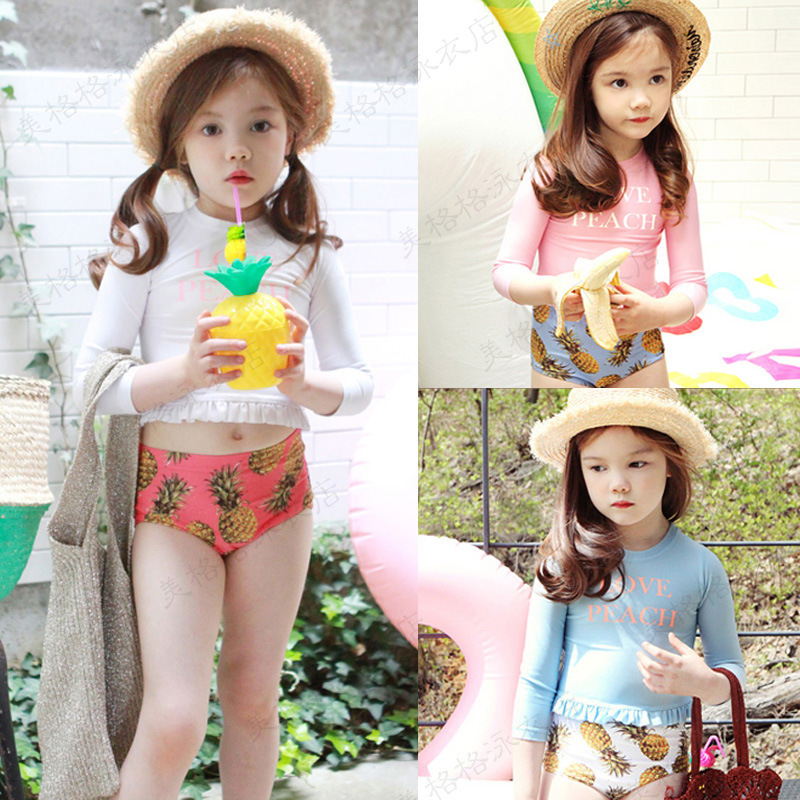 Pineapple South Korea CHILDREN'S Swimwear Split High Waist Pants Girls Belly Covering Bathing Suit Long Sleeve Sun-resistant Hol