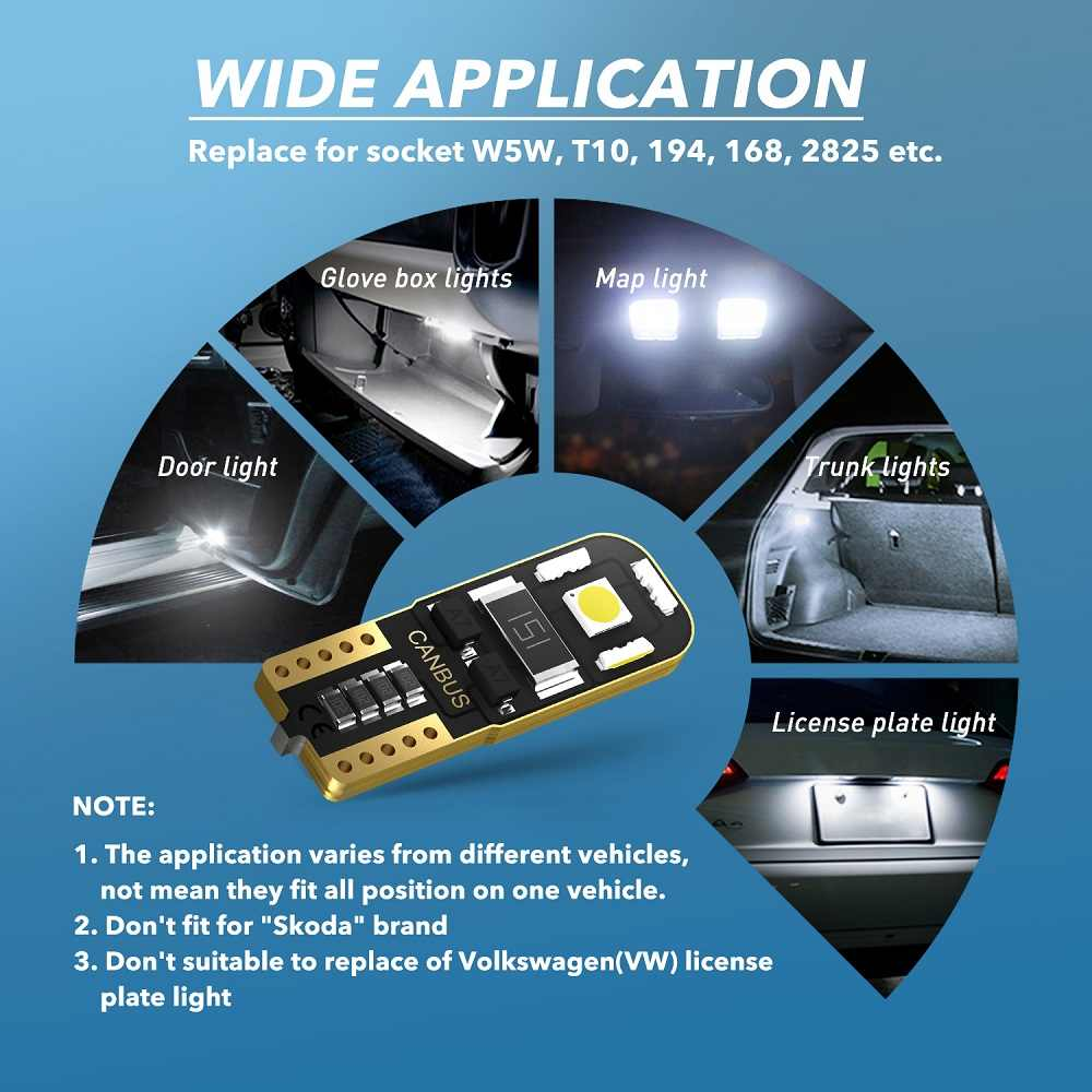 2X W5W T10 LED Canbus 電球駐車場のライトインテリア読書ランプフォルクスワーゲンの Vw マルチバンため T4 T5 T6 2014 2015