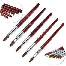 Pincel acrílico para esculpir uñas, polvo líquido, Dibujo de uñas, manicura en polvo, mango de madera, herramientas profesionales