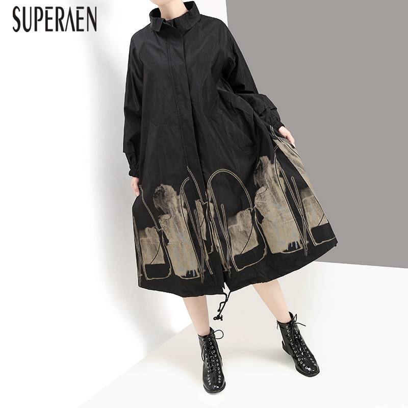 SuperAen Autumn and Winter   Trench   Coat for Women New 2019 Europe Cotton Ladies Windbreaker Fashion Casual Wild Women Clothing