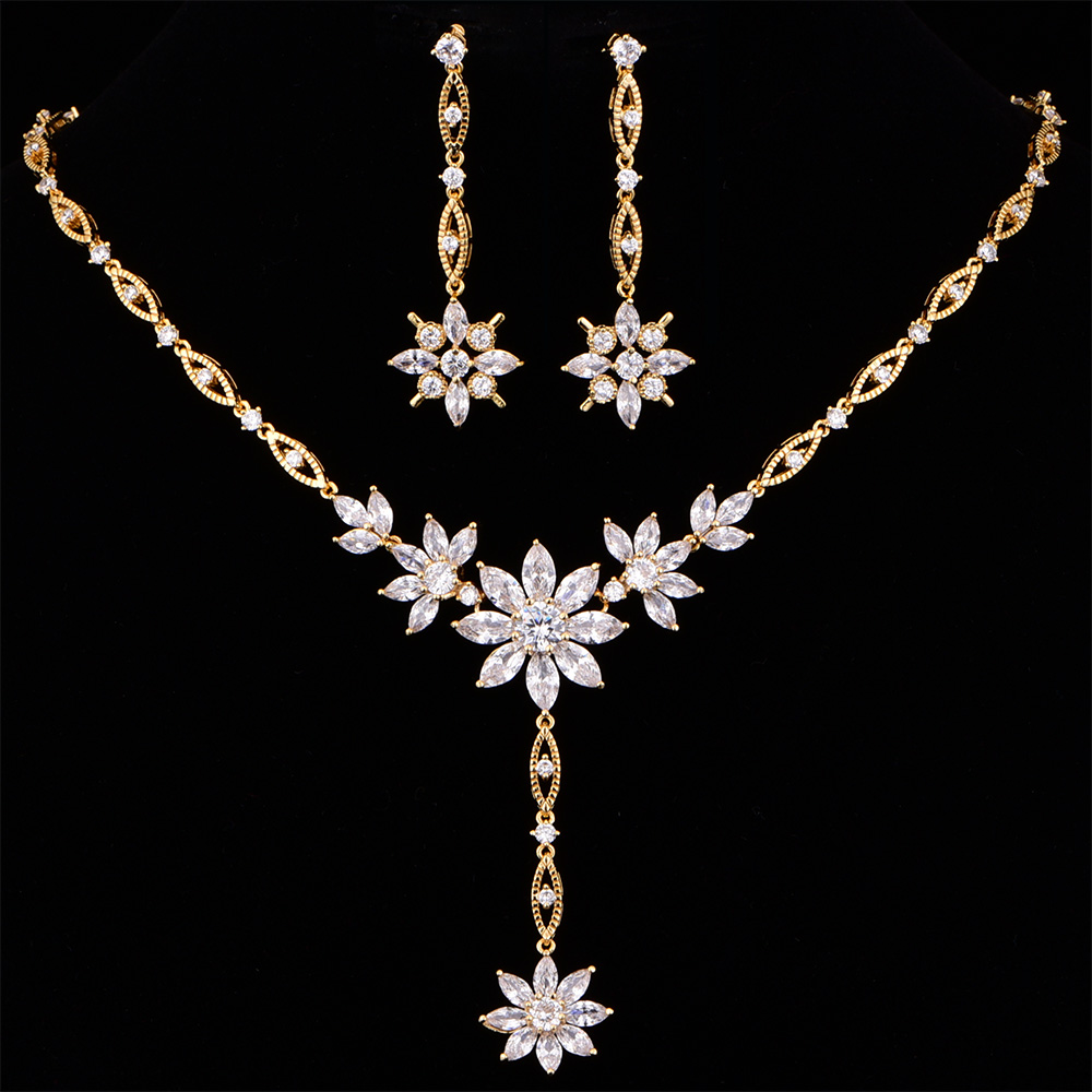 Vintage Gold Deep V Cubic Zirconia Wedding Necklace and Earring Set For Women Party Jewelry Girlfriend Gift CZL-6022