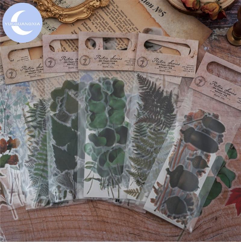 YueGuangXia Plants Deco Stickers Scrapbooking Bullet Journal Toy Retro Deco Album DIY Stationery Stickers 8 Designs 20Pcs/lot