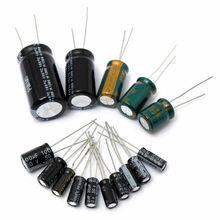 120 шт./лот 15 Значение с алюминиевой крышкой, 50В 1 мкФ-2200 мкФ электролитический конденсатор с алюминиевой крышкой, комплект