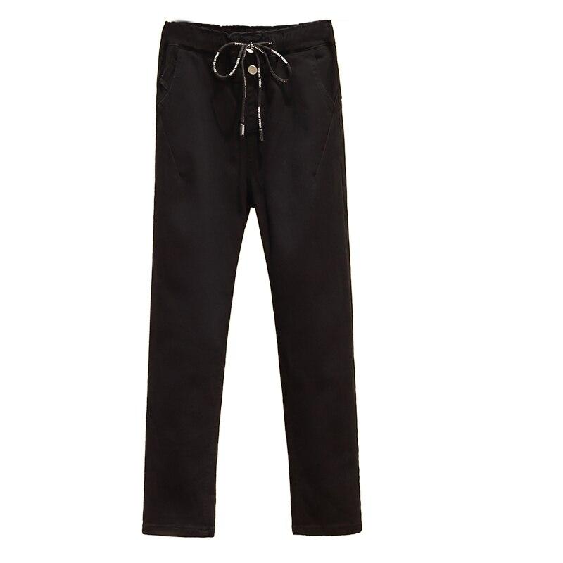 Jeans Women High Waist Stretch Mom  Jeans Plus Size  Elastic Waist Denim Pants   Black Aesthetic Jeans
