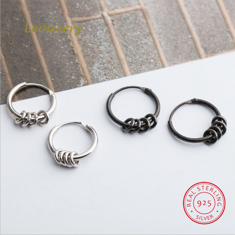 Leouerry Earrings Hoop-Ring Ear-Bones Fine-Jewelry 925-Sterling-Silver Women Black Party