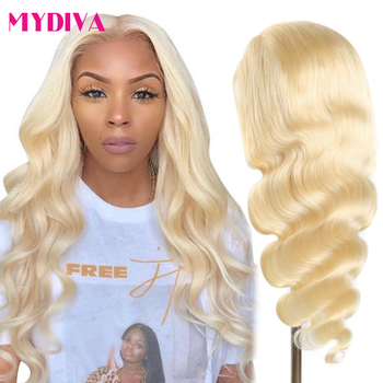 613 Blonde Lace Front Human Hair Wigs Middle Part 13x1 Remy Brazilian Body Wave Lace Front Wigs Pre Plucked 150% 5inch Deep Part
