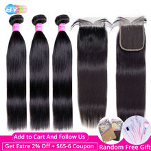 [BY] Straight Hair Bundles With Closure Natural Human Hair 3 Bundles With Closure Brazilian Hair Weave Bundles 4x4 Swiss Lace(China)