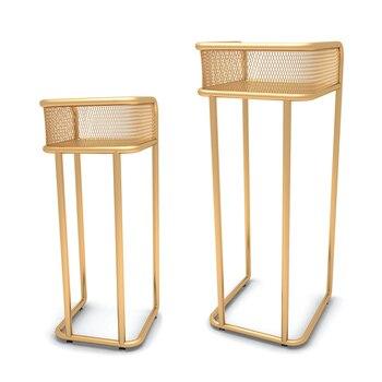 Nordic Modern Minimalist Gold Wrought Iron Flower Shelf Living Room Balcony Floor-standing  Pot  Office  Stand
