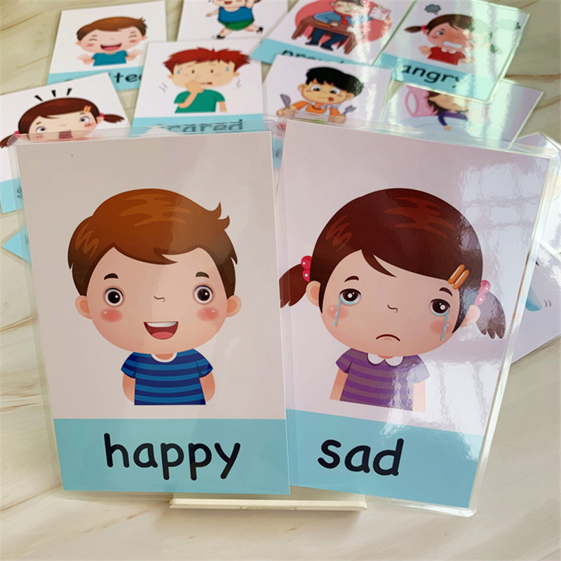 New 14pcs/set Baby English Learning Cards Cartoon Emotion Flash Cards For Children Early Educational Toy Memory Game For Kids 4