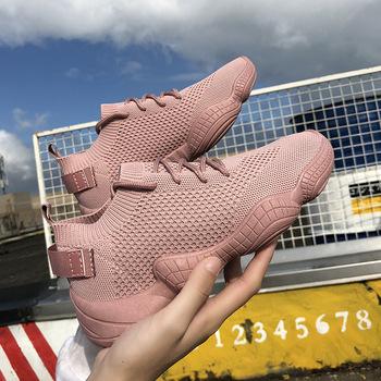 2020 siatkowe trampki damskie buty wulkanizowane sznurowane solidny płaski obcas dzianiny wiosna jesień kliny buty dla kobiet tanie i dobre opinie MECEBOM Mesh (air mesh) Płytkie Stałe Cotton Fabric Wiosna jesień Med (3 cm-5 cm) Lace-up Pasuje prawda na wymiar weź swój normalny rozmiar