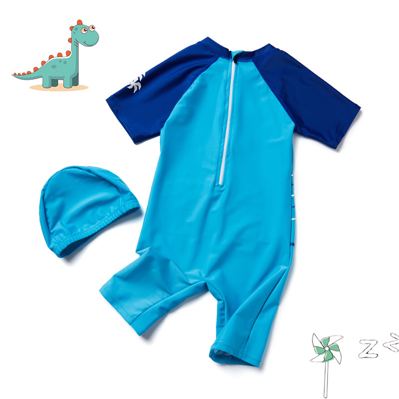 KID'S Swimwear Swimming Trunks One-piece Small Tong Tour BOY'S Suit Boy Cartoon Swimwear Middle And Large Dacron Sun-resistant E