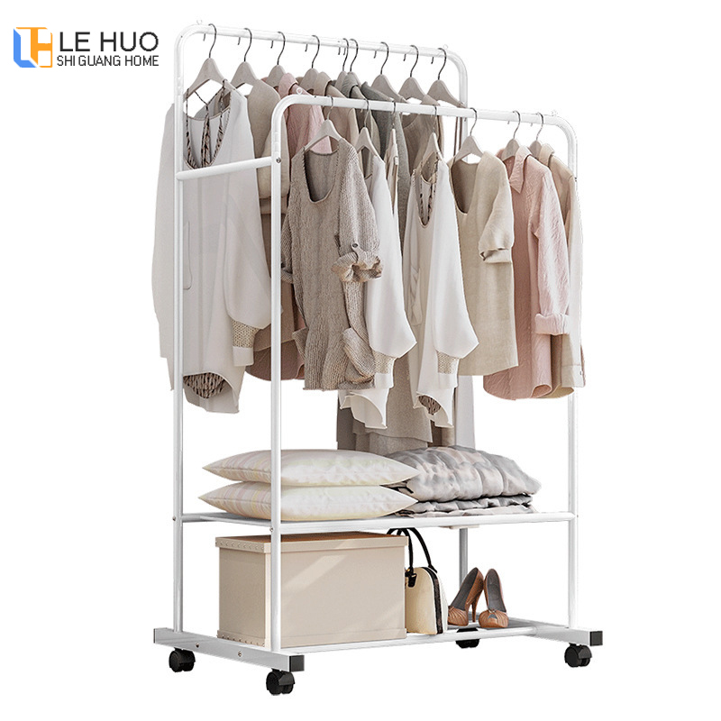 Double Row Coat Rack Assembly Bedroom Hanging Clothes Shoes Bags Organize Storage Shelf Simple Wardrobe For Home Furniture