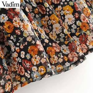 Image 4 - Vadim women retro chiffon floral pattern mini dress V neck bow tie sashes transparent long sleeve female casual dresses QD155