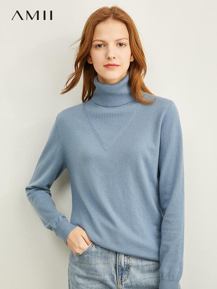 Amii winter Fashion solid rollkragen weiche cremige-blau pullover frauen kausalen volle sleeves soft stricken pullover tops 11970812