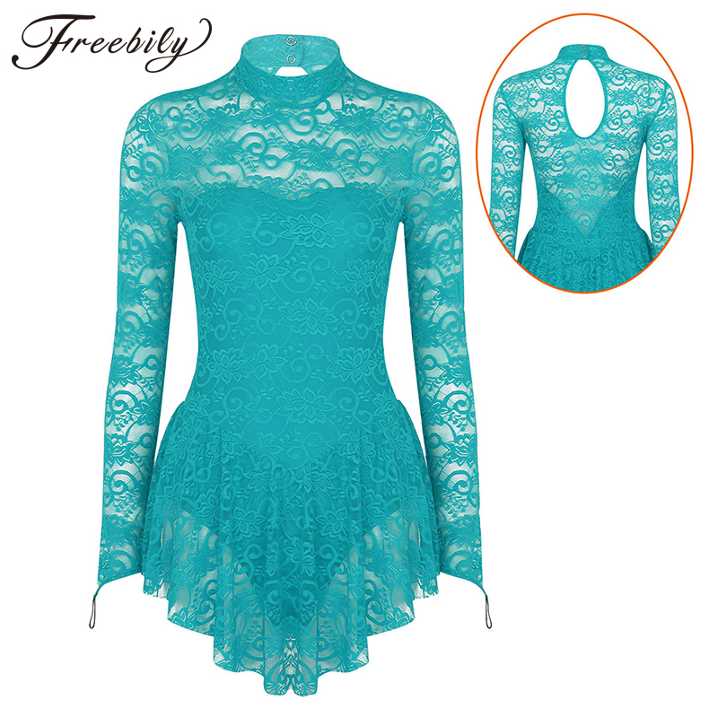 Women Adult Long Sleeve Lace Ballet Gymnastics Leotard Figure Ice Skating Dress Female Stage Performance Competition Costumes