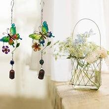 Campanilla de viento de mariposa de hierro tridimensional 3D, adorno metálico creativo para el dolor de cristal, decoración de jardín, timbre de campanas de viento pintado