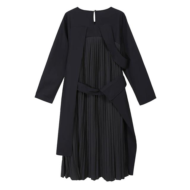 VeryYu 2020 Autumn Winter Long Sleeve Black Patchwork Pleated Dress Fashion  VerYYu