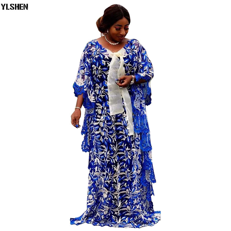 African Dresses For Women Plus Size African Clothes Dashiki Lace Embroidery Flower Robe Boubou Africain Clothing Africa Dress