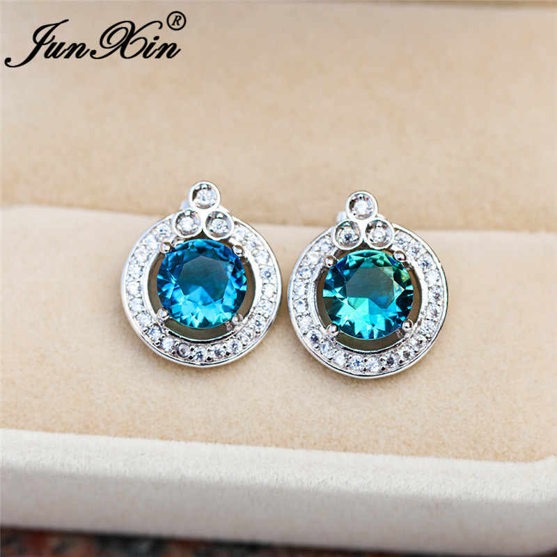 Boho Female Rainbow Fire Crystal Earring 925 Silver Colorful Blue Green Stone Round Stud Earrings For Women Wedding Jewelry Gift