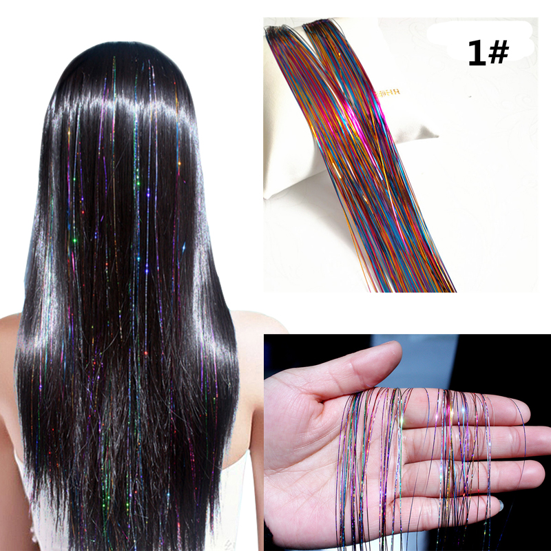 Sparkle Hair Tinsel Rainbow Colored Strands Girl Headwear Hair Laser False Hair Extension Bling Decoration Glitter Strips Party
