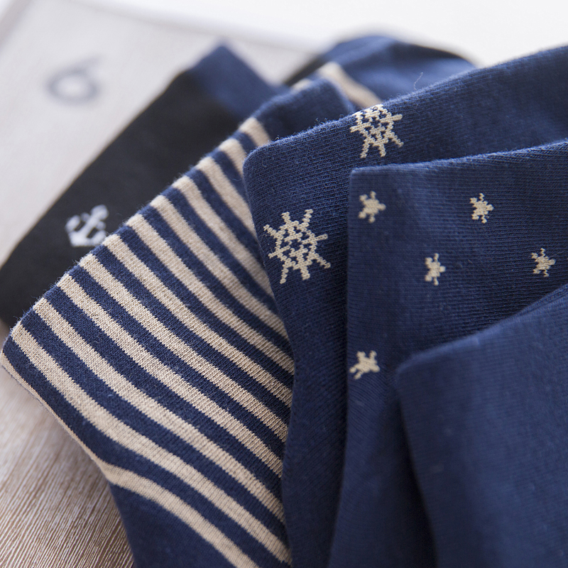 LJIQQ 5 Pairs New Fashion Navy Wind Blue Men Socks Personality Casual Cotton Socks Spring Summer Korean Style Socks