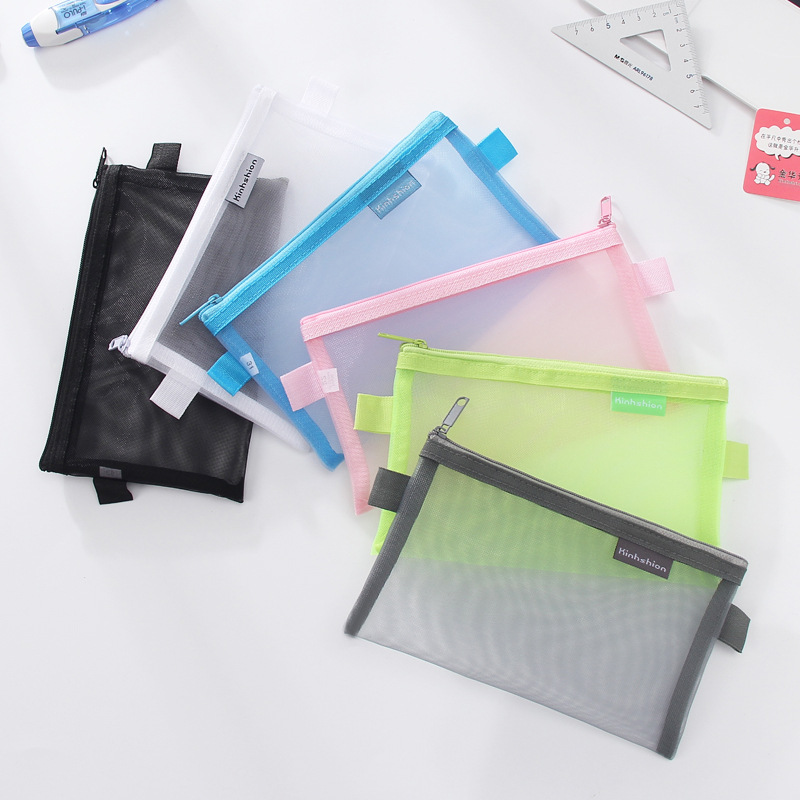 Simple Transparent Mesh Pencil Case Office Student Pencil Cases Nylon Pen Bag School Stationery Supplies Gifts for Kid Student