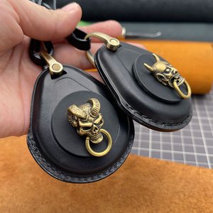 Image 4 - Chave inteligente caso de couro genuíno fob capa para harley davidson x48 1200 883 rua glide legal punk chaveiros