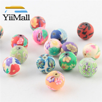 100 Uds 6-12mm DIY mezcla de colores arcilla polimérica cuentas Impresión de estampado de flores cuentas redondas cuentas espaciadoras sueltas para la fabricación de joyas