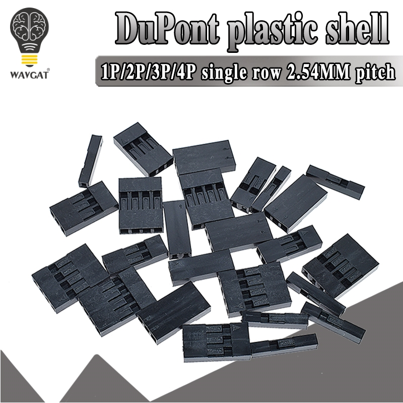 100PCS Dupont Head 2.54mm 1X 1P 2P 3P 4P 1X1P 1X2P Dupont Plastic Shell Pin Head Connector Jumper Wire Cable Housing Plug Female