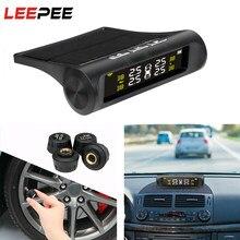 Leepee energia solar carro tpms sistema de monitoramento pressão dos pneus sistemas de alarme segurança automática digital display lcd sensor pressão dos pneus
