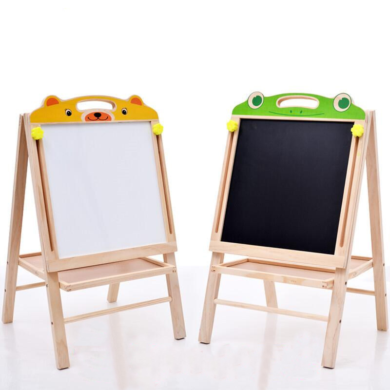 Children Wooden Drawing Board Adjustable Double-Sided Magnetic Braced Wooden Multi-functional Writing Board Easel Small Blackboa