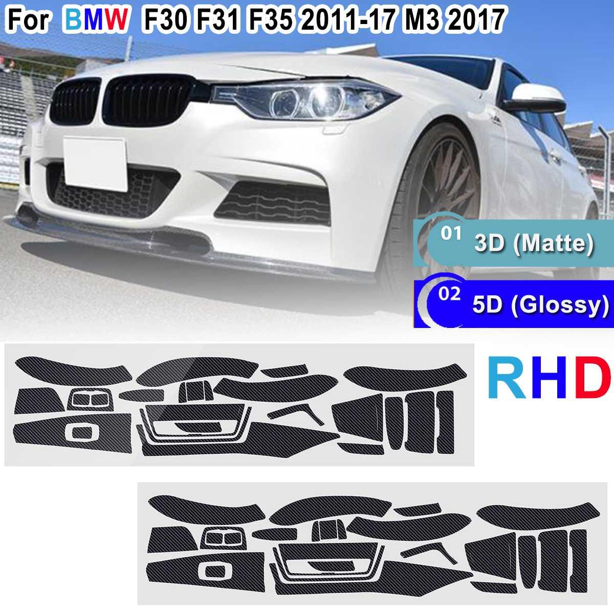 23 piezas mate/brillante de la etiqueta engomada para BMW Serie 3 F30 F31 F35 2011-2017 M3 2017 RHD reflectante calcomanía Interior de fibra de carbono