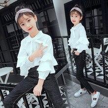Коллекция года, осенняя одежда для девочек Корейский стиль, стиль, средний и большой размер, модная рубашка с длинными рукавами и оборками для девочек