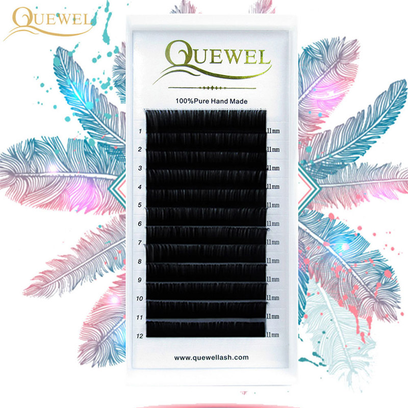 Quewel Eyelash-Extension Curl Silk Cilios 12-Lines/tray Soft Individual C/cc/d